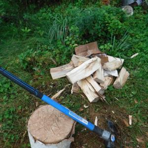 雨の合間に薪割り な休日