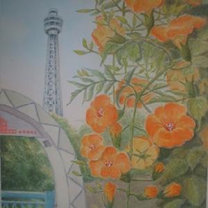 ノウゼンカズラとマリンタワー
