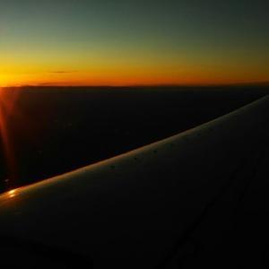 翼越の夕日