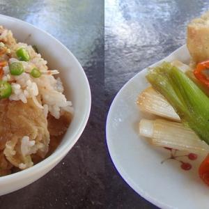 2019.12.09 バリ島ぼっち自宅ランチは「フライドチキン炊き込みご飯+ねぎと揚げ豆腐の煮物