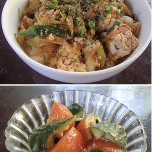 2020.01.23 バリ島ぼっち自宅ランチは「豆腐のピリ辛ねぎ炒め丼+2カラーベジわさび和え」