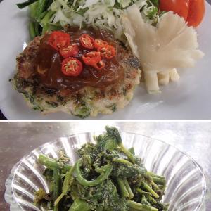 2020.02.20 バリ島ぼっち自宅ランチは「小松菜入りつくねバーグ+パクのわさび醤油和え」