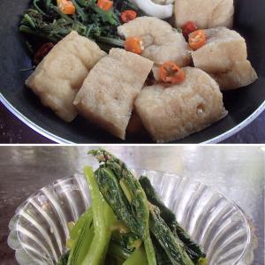 2020.02.21 バリ島ぼっち自宅ランチは「3カラー煮物+小松菜のわさび醤油和え」