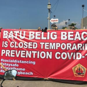 ビーチ閉鎖になっています・・・