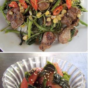 2020.05.30 バリ島ぼっち自宅ランチは「砂肝とバヤムの塩だれ炒め丼+トマトわかめ酢の物」