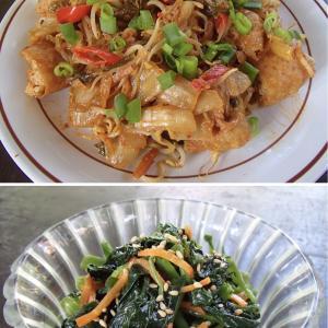 2020.06.12 バリ島ぼっち自宅ランチは「揚げ豆腐とタウゲのキムチマヨ+バヤムのナムル」