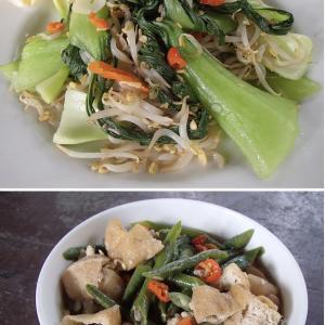 2020.06.17 バリ島ぼっち自宅ランチは「チンゲン菜塩にんにく炒め+ささげと揚げ豆腐煮物」