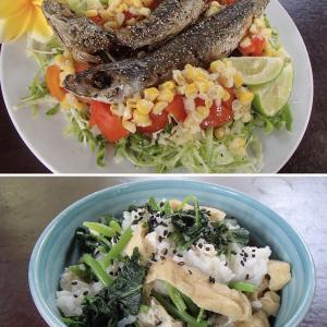 2020.07.06 バリ島ぼっち自宅ランチは「サルデンゴレンサラダ+バヤムとタフゴレンご飯」