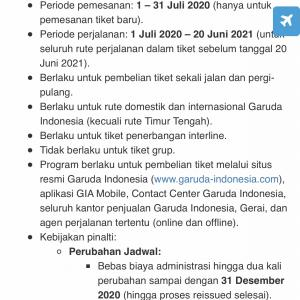 ガルーダインドネシア航空、2回まで変更可能なチケット販売中