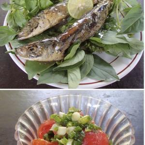 2020.07.24 バリ島ぼっち自宅ランチは「サルデンゴレンのライムあんかけ+ネギ塩トマト」