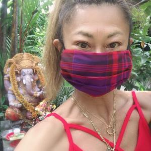 マドラスチェック生地でマスク自縫いしました♪