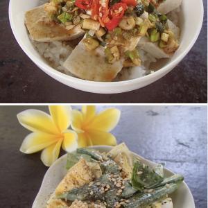 2020.07.26 バリ島ぼっち自宅ランチは「よだれ豆腐丼+たまごとネギのサラダ」