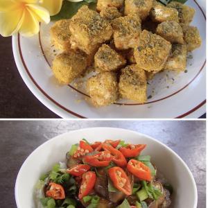 2020.07.28 バリ島ぼっち自宅ランチは「テンペのカレーチーズ焼き+なすびの南蛮炒め丼」