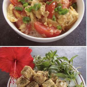 2020.09.19 バリ島ぼっち自宅ランチは「たまごとトマトの生姜炒め丼+テンペのチーズ焼き」