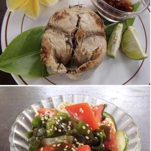 2020.09.21 バリ島ぼっち自宅ランチが「グリルツナ・ジンジャーポン+3カラー中華サラダ」
