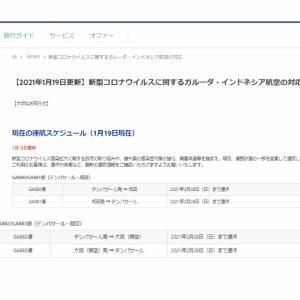日本~バリ島直行便、2月28日(日)まで全便運休
