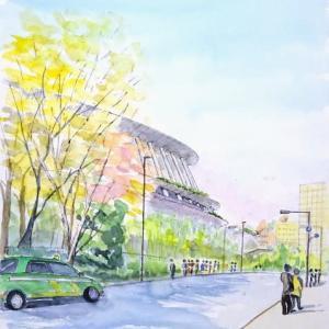 新しい国立競技場と銀杏並木の今、神宮外苑の現況をスケッチです