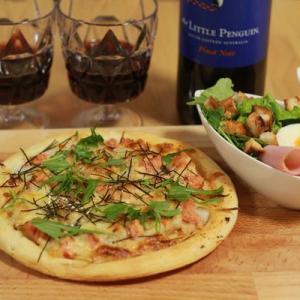 和風ピザと赤ワイン