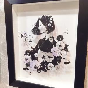 『美人画切り絵3人展』9月2日まで。