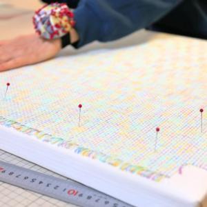 織りのあまいツイードの生地★薄い接着芯を貼る方法