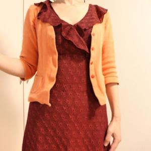 秋色のフリル衿がついたカシュクールワンピ★着てお出かけしてきたよ