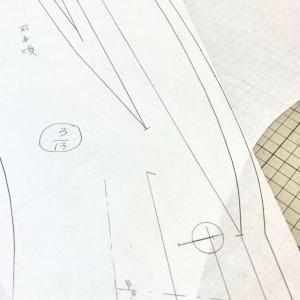 刻みのあるショールカラー★型紙起こしの仕事★パターン完成お見せします
