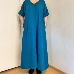 ダブルガーゼのリネンでワンピース★たっぷり布を使って涼し気★着てみたよ