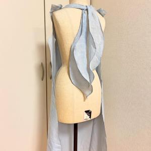 自分服★葉っぱのリボン麻ワンピース★デザインから縫製過程