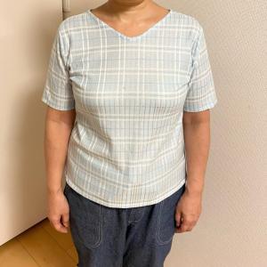 プルオーバー半袖Tシャツ完成★着てみたよ★水色チェックのニット