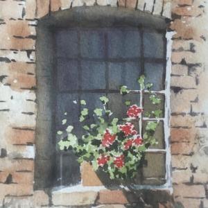 ゼラニウムのある窓辺を描く!