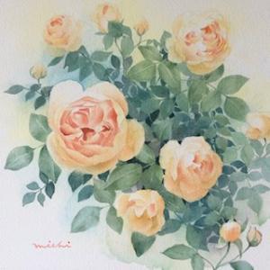 オレンジのバラを描く〜♪