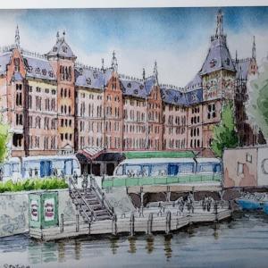 アムステルダム中央駅を描く♪