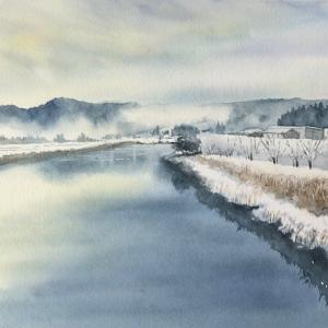 冬の静かな川を描く〜アベテイ1月課題