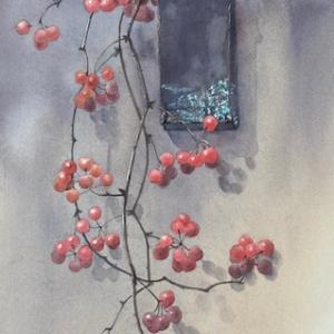 手作り花器とサンキライと綿花と〜♪