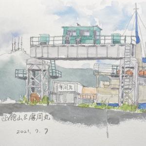 函館山と摩周丸を描く〜♪