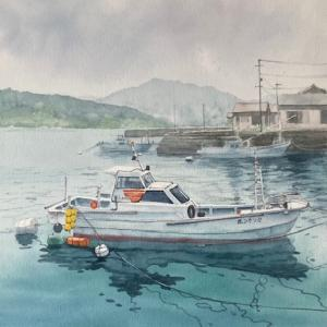 福江島の港を描く〜♪