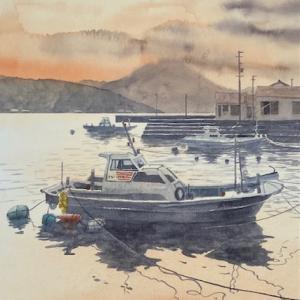 夕景の福江島の港を描く〜♪