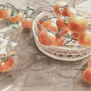 柿を描く〜♪