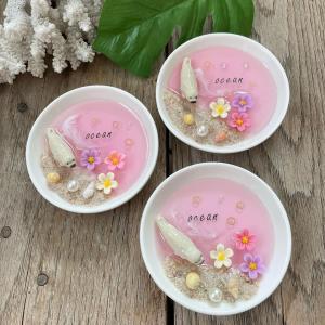 波とお花とあざらしの豆皿