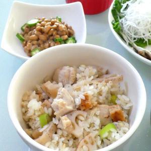 レンコンと鶏肉の炊き込みご飯と弁当