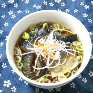 鰊茄子蕎麦と柿の炊き込みご飯