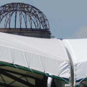 原爆死没者慰霊式テント設置 ヒロシマの夏8月6日近づく