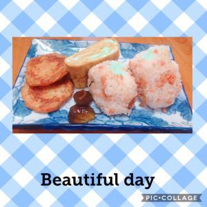 鮭昆布おにぎり朝食♪( ´▽`)