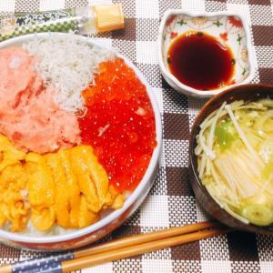 息子のお誕生日は海鮮四色寿司♪( ´▽`)