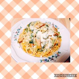 粗挽きソーセージと菜の花と舞茸のリコッタチーズパスタ