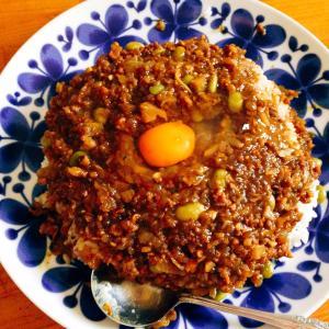 粒こんにゃくと大豆肉と舞茸のキーマカレー(*^▽^*)