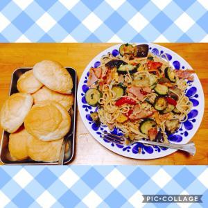 ズッキーニと茄子のバジルパスタ