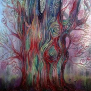 アクリルガッシュで「縄文の樹・火焔の冠」修正・加筆