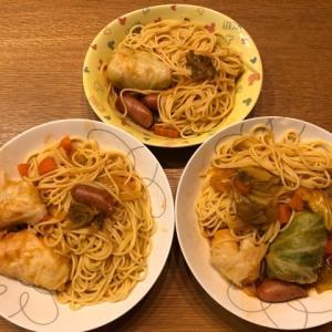 パスタ食べたかったので『簡単ロールキャベツパスタ』を作って食べてみた。
