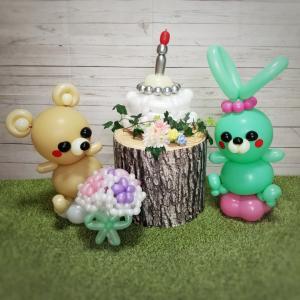 【9月お誕生日セット】グリーンのうさぎとイエローベージュのくま